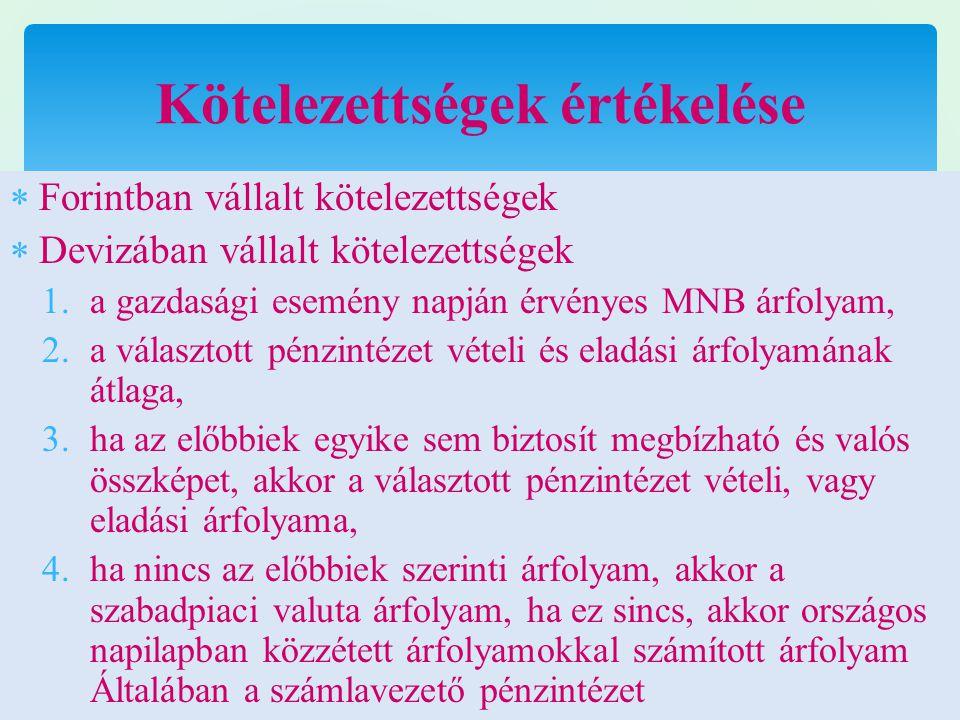  Forintban vállalt kötelezettségek  Devizában vállalt kötelezettségek 1.a gazdasági esemény napján érvényes MNB árfolyam, 2.a választott pénzintézet