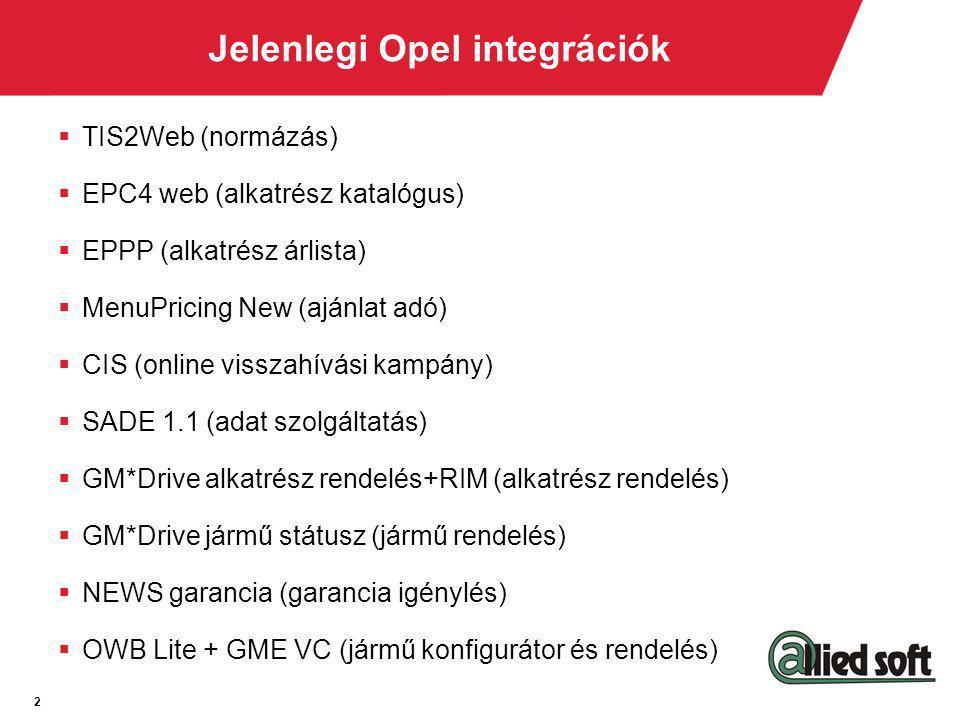 2 Jelenlegi Opel integrációk  TIS2Web (normázás)  EPC4 web (alkatrész katalógus)  EPPP (alkatrész árlista)  MenuPricing New (ajánlat adó)  CIS (o