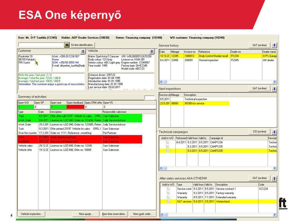 4 ESA One képernyő