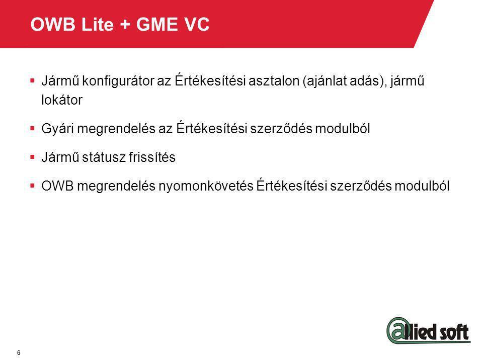 6 OWB Lite + GME VC  Jármű konfigurátor az Értékesítési asztalon (ajánlat adás), jármű lokátor  Gyári megrendelés az Értékesítési szerződés modulból