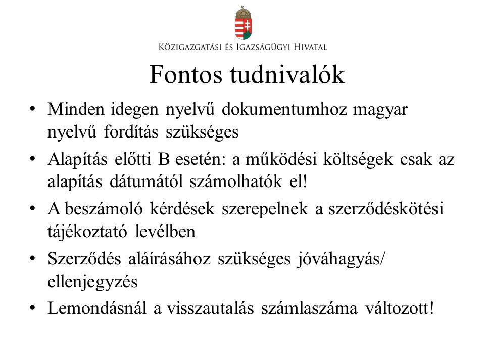 Fontos tudnivalók • Minden idegen nyelvű dokumentumhoz magyar nyelvű fordítás szükséges • Alapítás előtti B esetén: a működési költségek csak az alapítás dátumától számolhatók el.