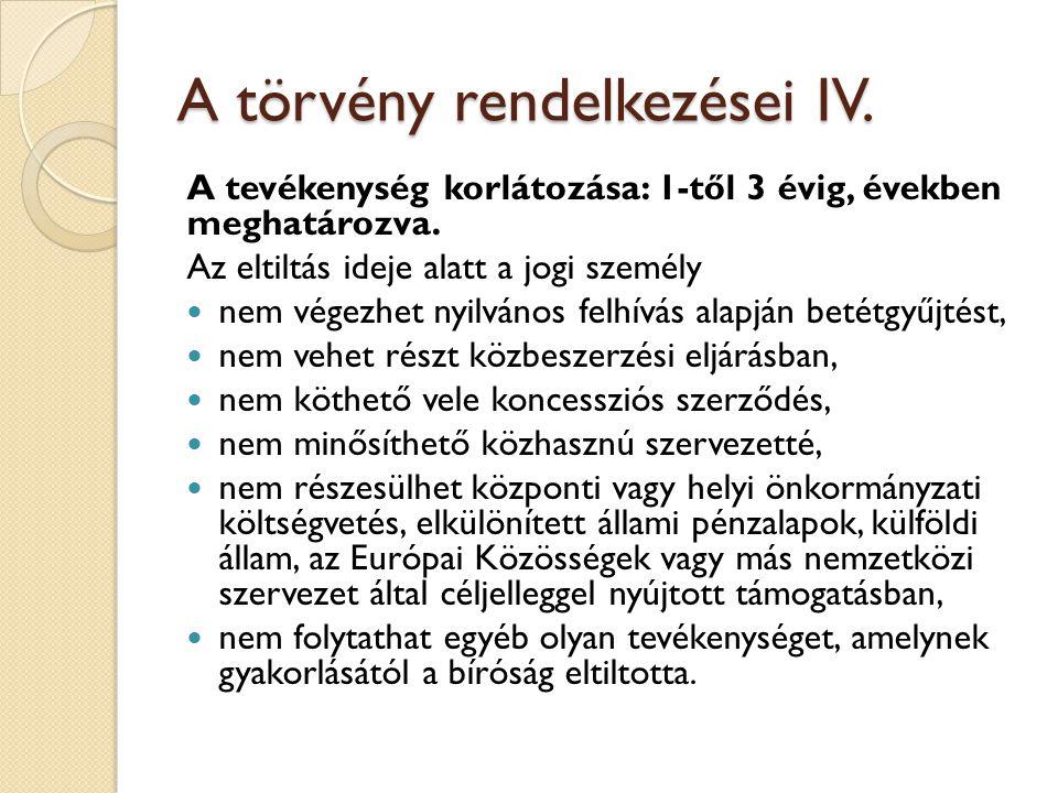 A törvény rendelkezései IV. A tevékenység korlátozása: 1-től 3 évig, években meghatározva.