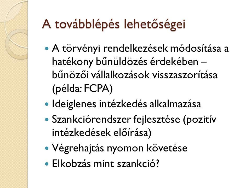 A továbblépés lehetőségei  A törvényi rendelkezések módosítása a hatékony bűnüldözés érdekében – bűnözői vállalkozások visszaszorítása (példa: FCPA)  Ideiglenes intézkedés alkalmazása  Szankciórendszer fejlesztése (pozitív intézkedések előírása)  Végrehajtás nyomon követése  Elkobzás mint szankció