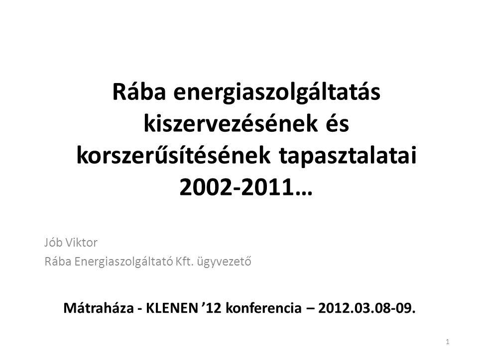 Rába energiaszolgáltatás kiszervezésének és korszerűsítésének tapasztalatai 2002-2011… Jób Viktor Rába Energiaszolgáltató Kft. ügyvezető Mátraháza - K