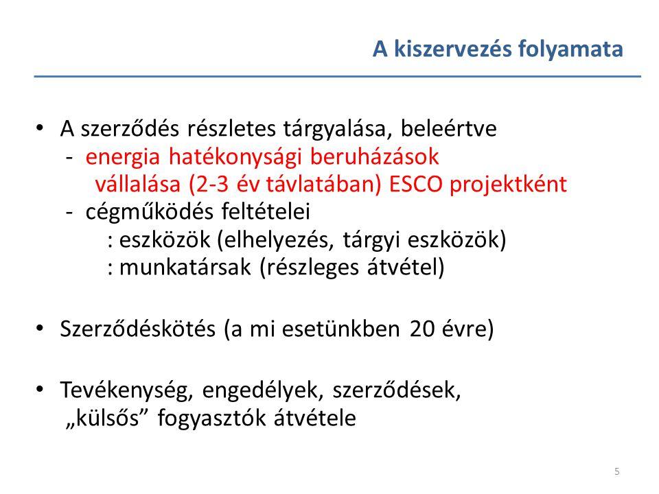 5 • A szerződés részletes tárgyalása, beleértve - energia hatékonysági beruházások vállalása (2-3 év távlatában) ESCO projektként - cégműködés feltéte