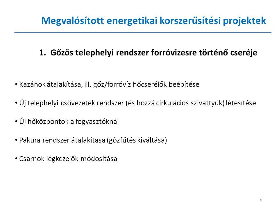 6 Megvalósított energetikai korszerűsítési projektek 1. Gőzös telephelyi rendszer forróvizesre történő cseréje • Kazánok átalakítása, ill. gőz/forróví