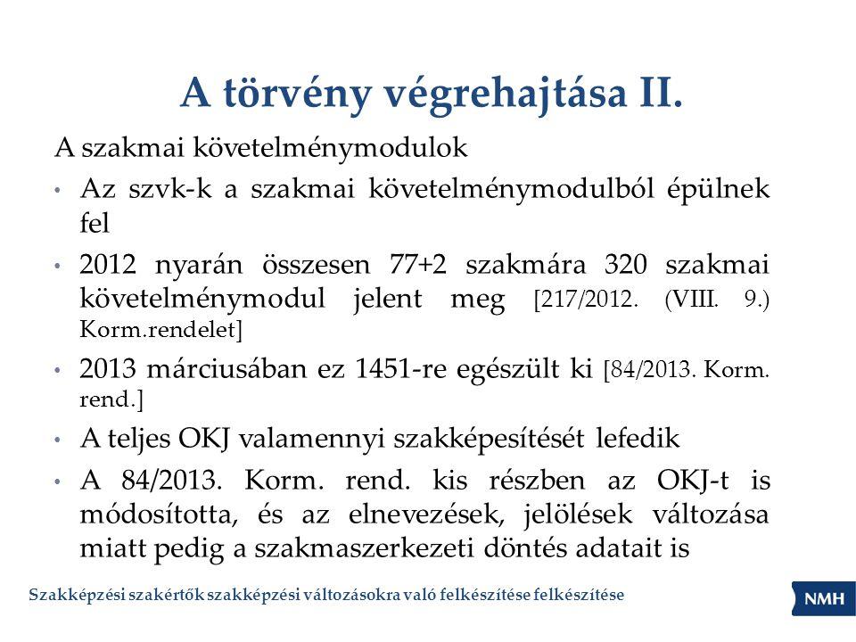 A törvény végrehajtása II. A szakmai követelménymodulok • Az szvk-k a szakmai követelménymodulból épülnek fel • 2012 nyarán összesen 77+2 szakmára 320