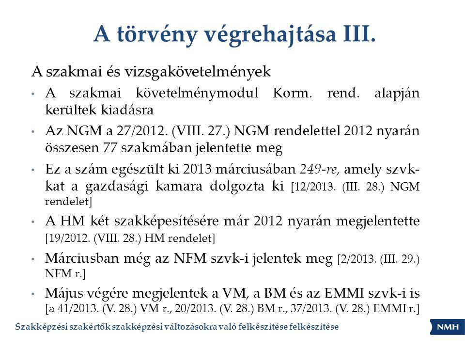 A törvény végrehajtása III. A szakmai és vizsgakövetelmények • A szakmai követelménymodul Korm. rend. alapján kerültek kiadásra • Az NGM a 27/2012. (V