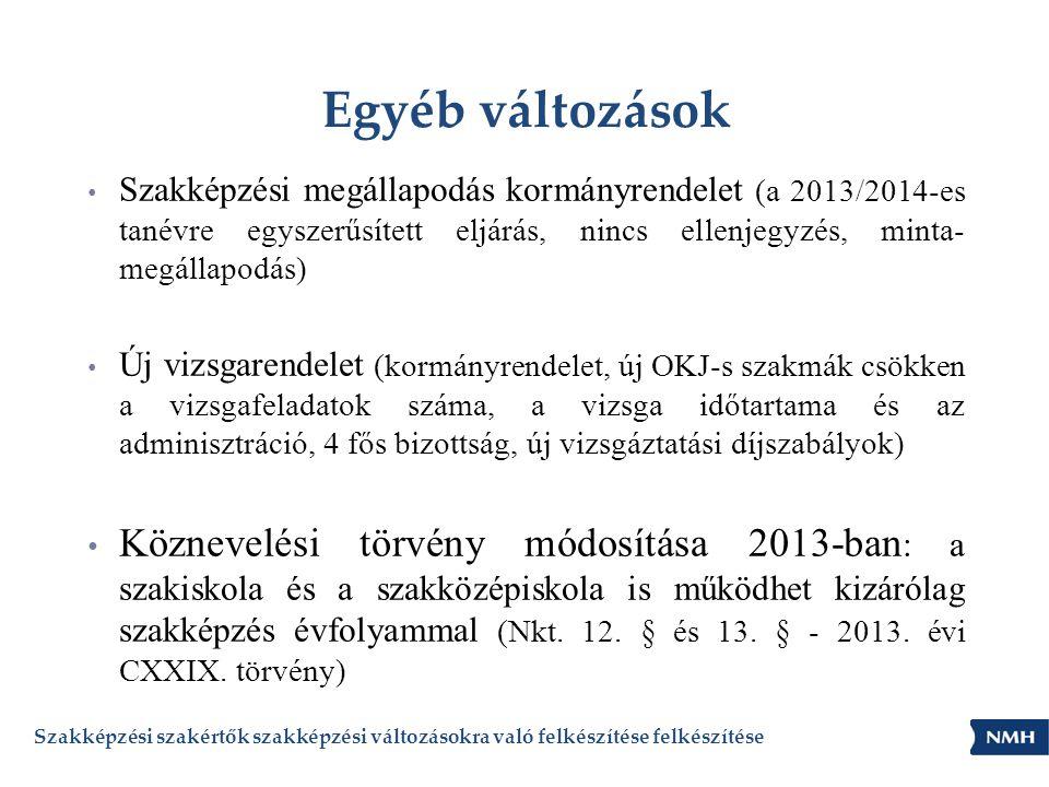Egyéb változások • Szakképzési megállapodás kormányrendelet (a 2013/2014-es tanévre egyszerűsített eljárás, nincs ellenjegyzés, minta- megállapodás) •