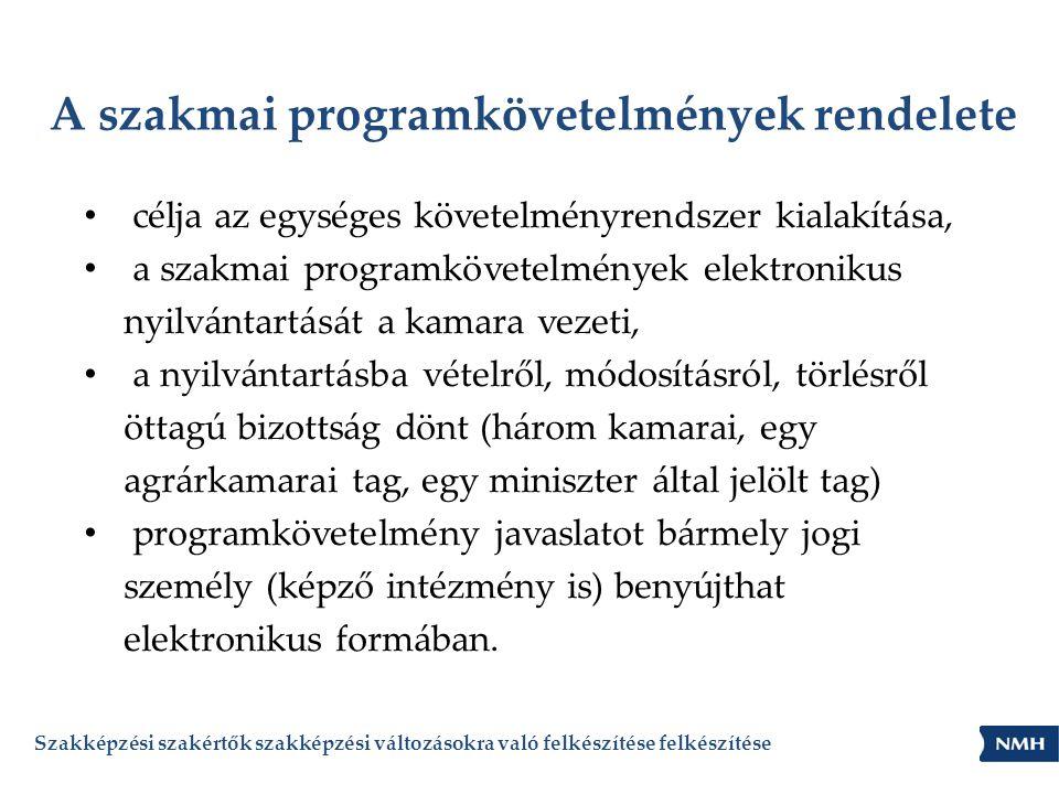 A szakmai programkövetelmények rendelete • célja az egységes követelményrendszer kialakítása, • a szakmai programkövetelmények elektronikus nyilvántar