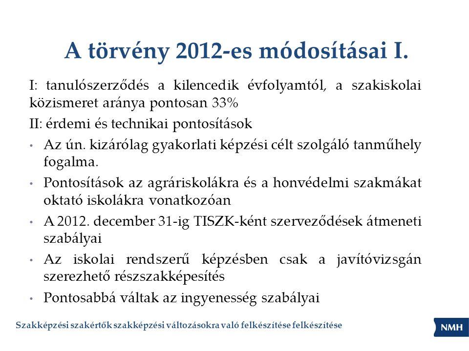 A törvény 2012-es módosításai I. I: tanulószerződés a kilencedik évfolyamtól, a szakiskolai közismeret aránya pontosan 33% II: érdemi és technikai pon