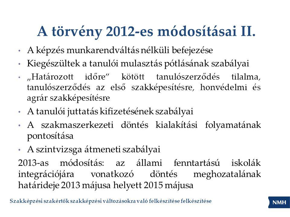 """A törvény 2012-es módosításai II. • A képzés munkarendváltás nélküli befejezése • Kiegészültek a tanulói mulasztás pótlásának szabályai • """"Határozott"""