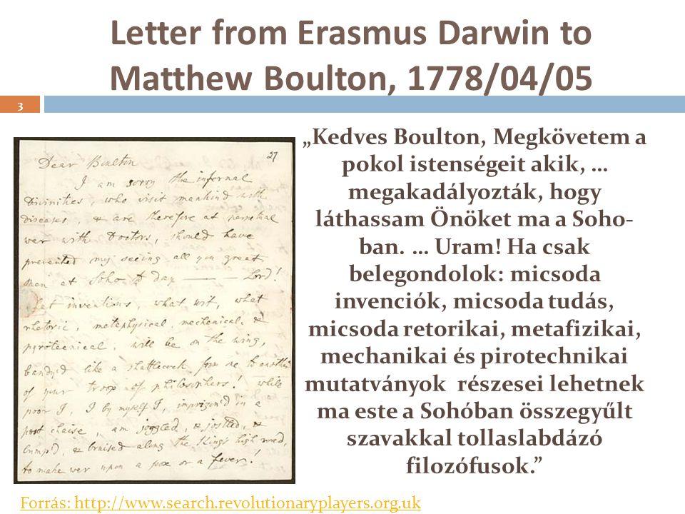 """Letter from Erasmus Darwin to Matthew Boulton, 1778/04/05 """"Kedves Boulton, Megkövetem a pokol istenségeit akik, … megakadályozták, hogy láthassam Önöket ma a Soho- ban."""