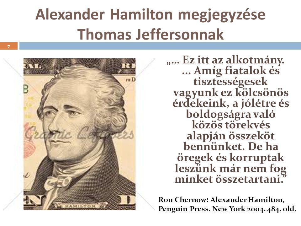 """Alexander Hamilton megjegyzése Thomas Jeffersonnak """"… Ez itt az alkotmány...."""