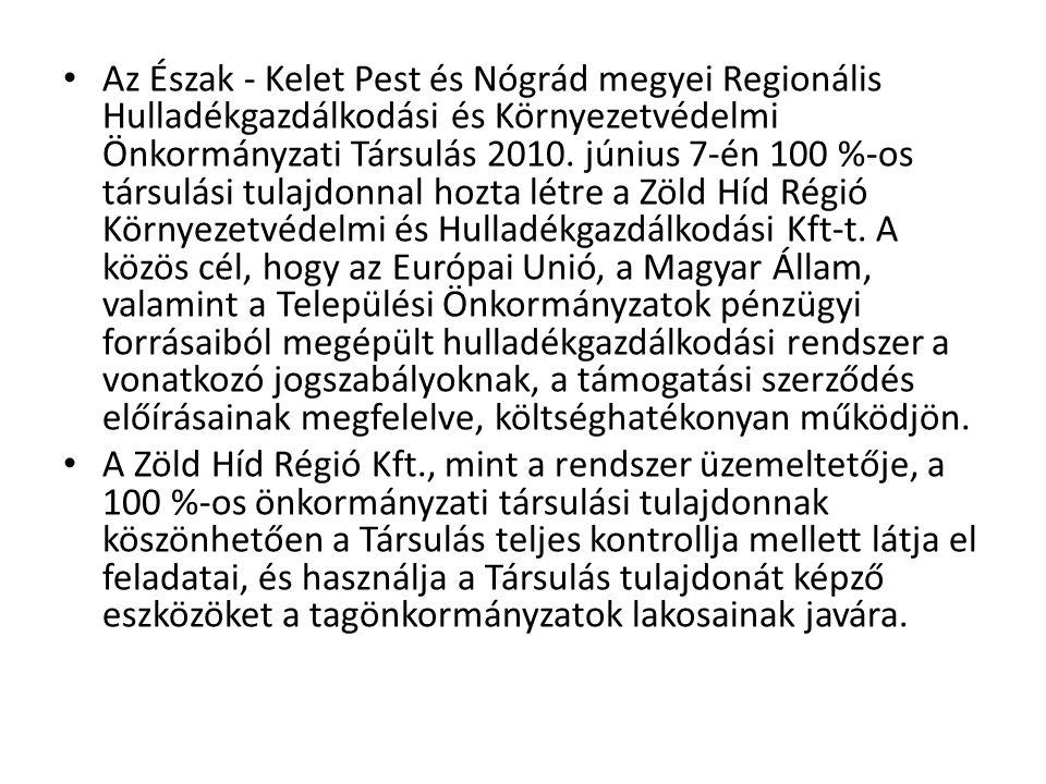 • Az Észak - Kelet Pest és Nógrád megyei Regionális Hulladékgazdálkodási és Környezetvédelmi Önkormányzati Társulás 2010. június 7-én 100 %-os társulá