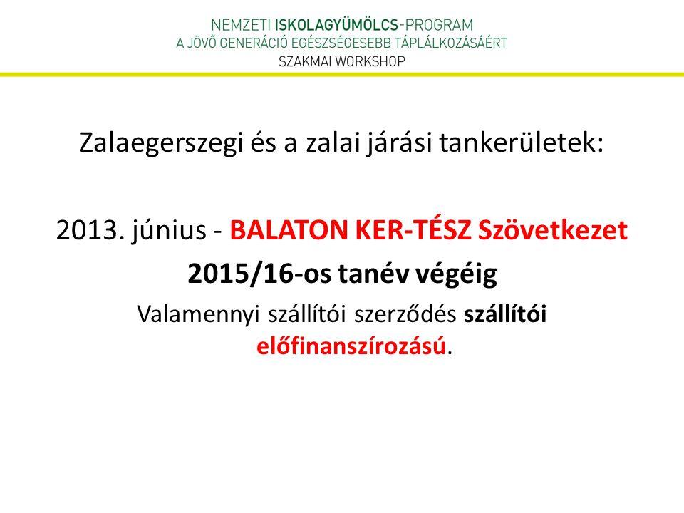Zalaegerszegi és a zalai járási tankerületek: 2013. június - BALATON KER-TÉSZ Szövetkezet 2015/16-os tanév végéig Valamennyi szállítói szerződés száll