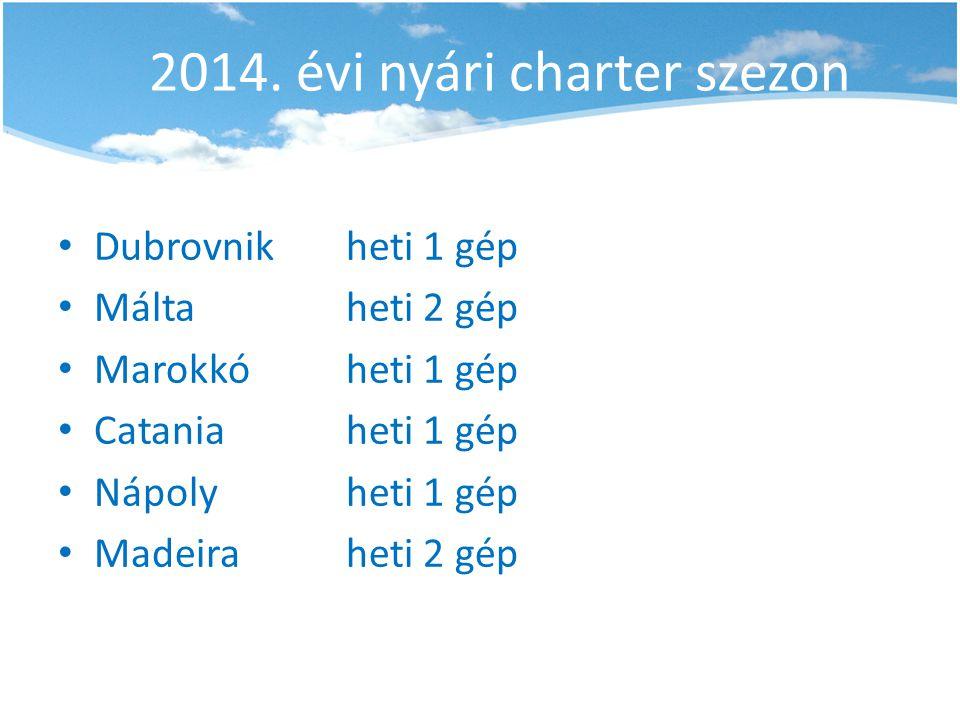 2014. évi nyári charter szezon • Dubrovnikheti 1 gép • Máltaheti 2 gép • Marokkóheti 1 gép • Cataniaheti 1 gép • Nápolyheti 1 gép • Madeiraheti 2 gép