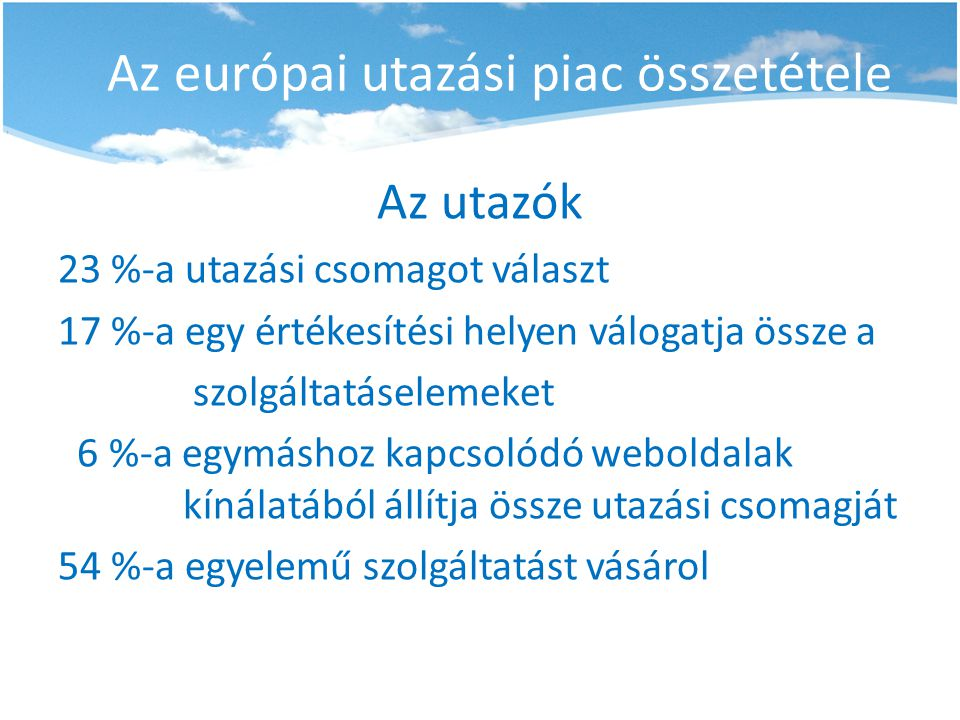 Az európai utazási piac összetétele Az utazók 23 %-a utazási csomagot választ 17 %-a egy értékesítési helyen válogatja össze a szolgáltatáselemeket 6