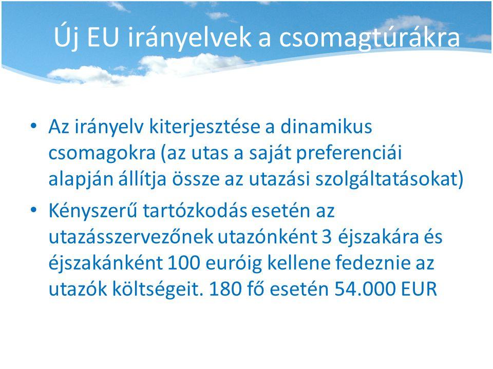 Új EU irányelvek a csomagtúrákra • Az irányelv kiterjesztése a dinamikus csomagokra (az utas a saját preferenciái alapján állítja össze az utazási szo