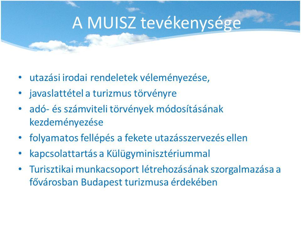 A MUISZ tevékenysége • utazási irodai rendeletek véleményezése, • javaslattétel a turizmus törvényre • adó- és számviteli törvények módosításának kezd