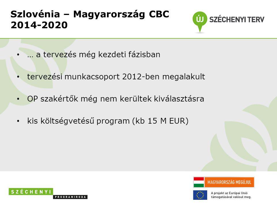 Szlovénia – Magyarország CBC 2014-2020 • … a tervezés még kezdeti fázisban • tervezési munkacsoport 2012-ben megalakult • OP szakértők még nem kerültek kiválasztásra • kis költségvetésű program (kb 15 M EUR)