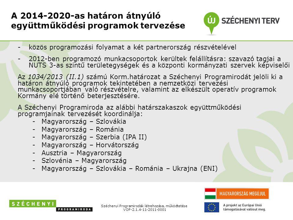 A 2014-2020-as határon átnyúló együttműködési programok tervezése -közös programozási folyamat a két partnerország részvételével -2012-ben programozó munkacsoportok kerültek felállításra: szavazó tagjai a NUTS 3-as szintű területegységek és a központi kormányzati szervek képviselői Az 1034/2013 (II.1) számú Korm.határozat a Széchenyi Programirodát jelöli ki a határon átnyúló programok tekintetében a nemzetközi tervezési munkacsoportjában való részvételre, valamint az elkészült operatív programok Kormány elé történő beterjesztésére.