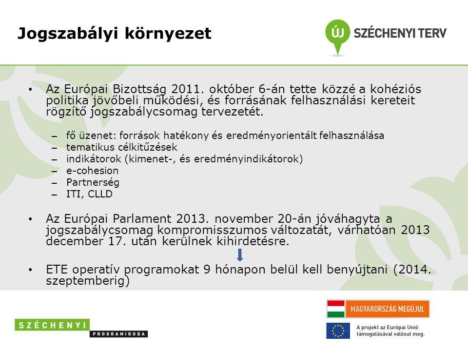 Jogszabályi környezet • Az Európai Bizottság 2011. október 6-án tette közzé a kohéziós politika jövőbeli működési, és forrásának felhasználási keretei