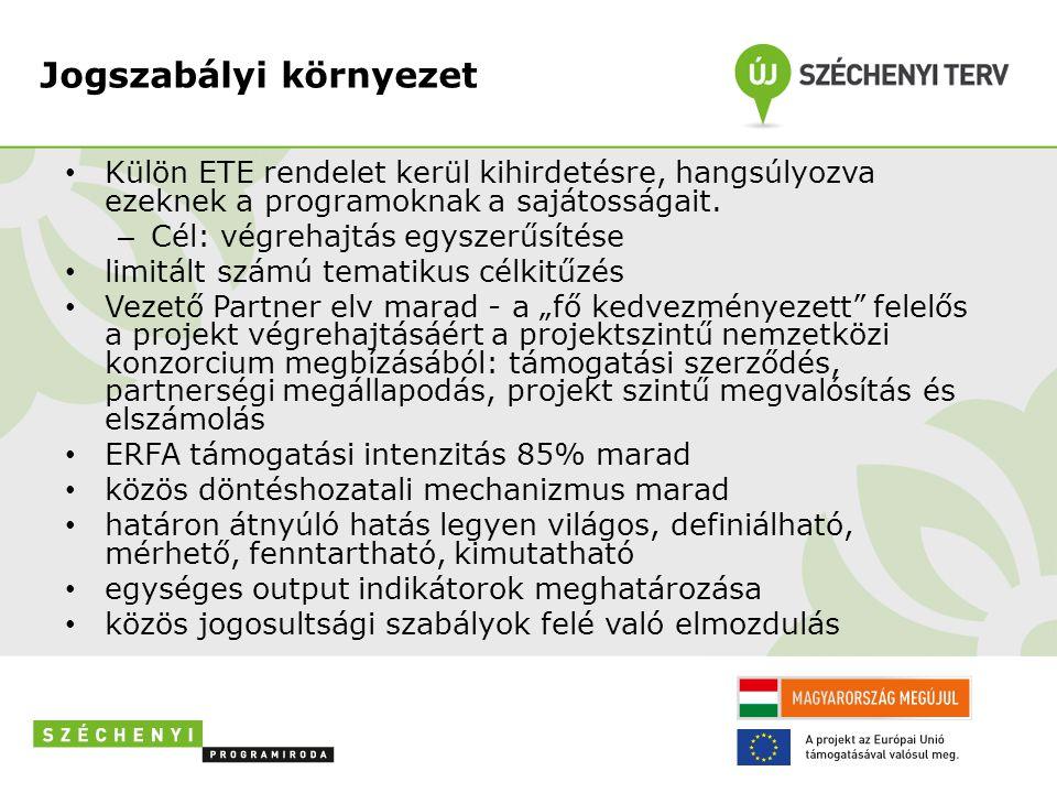 Jogszabályi környezet • Külön ETE rendelet kerül kihirdetésre, hangsúlyozva ezeknek a programoknak a sajátosságait.