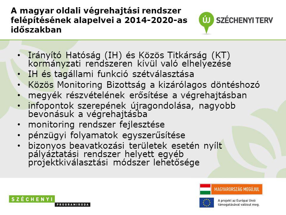 A magyar oldali végrehajtási rendszer felépítésének alapelvei a 2014-2020-as időszakban • Irányító Hatóság (IH) és Közös Titkárság (KT) kormányzati rendszeren kívül való elhelyezése • IH és tagállami funkció szétválasztása • Közös Monitoring Bizottság a kizárólagos döntéshozó • megyék részvételének erősítése a végrehajtásban • infopontok szerepének újragondolása, nagyobb bevonásuk a végrehajtásba • monitoring rendszer fejlesztése • pénzügyi folyamatok egyszerűsítése • bizonyos beavatkozási területek esetén nyílt pályáztatási rendszer helyett egyéb projektkiválasztási módszer lehetősége