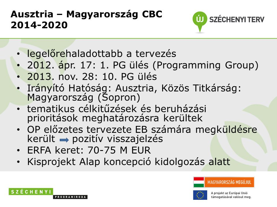 Ausztria – Magyarország CBC 2014-2020 • legelőrehaladottabb a tervezés • 2012. ápr. 17: 1. PG ülés (Programming Group) • 2013. nov. 28: 10. PG ülés •