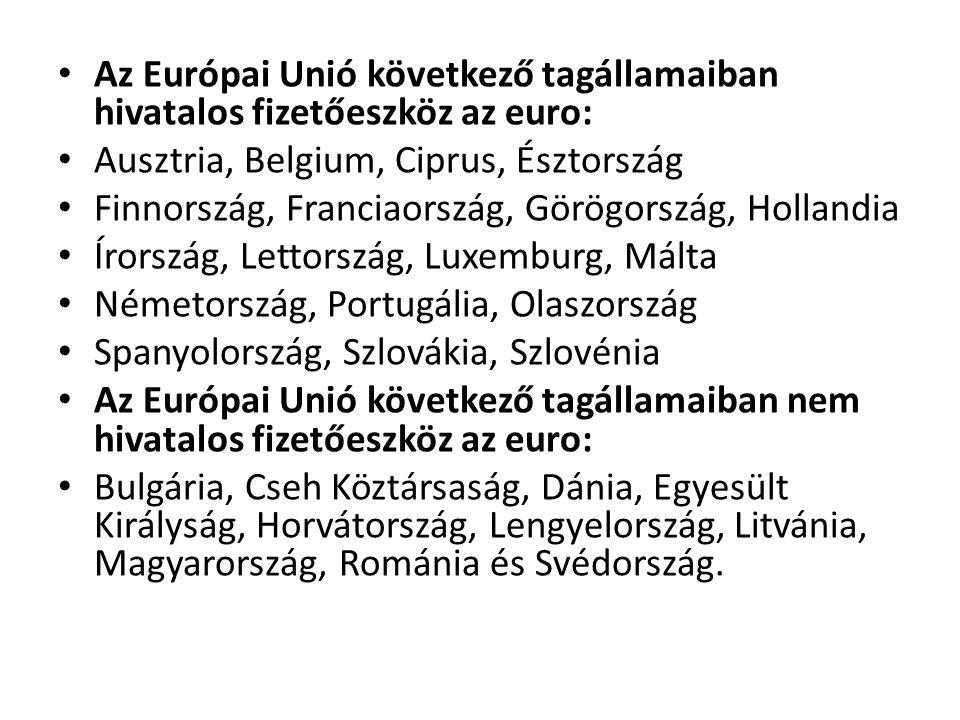 • Az Európai Unió következő tagállamaiban hivatalos fizetőeszköz az euro: • Ausztria, Belgium, Ciprus, Észtország • Finnország, Franciaország, Görögor