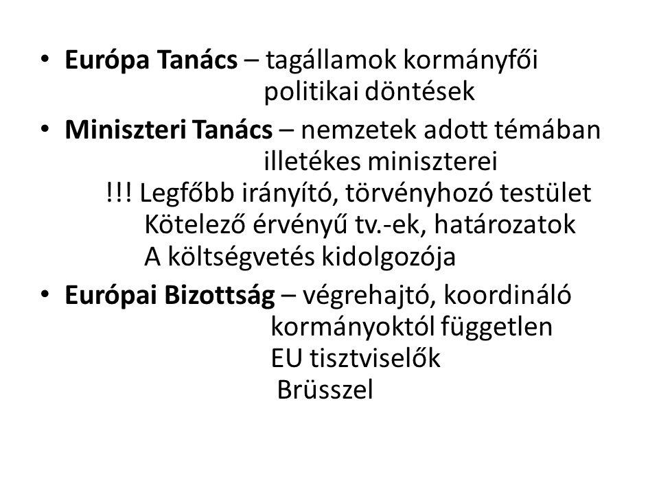 • Európa Tanács – tagállamok kormányfői politikai döntések • Miniszteri Tanács – nemzetek adott témában illetékes miniszterei !!! Legfőbb irányító, tö