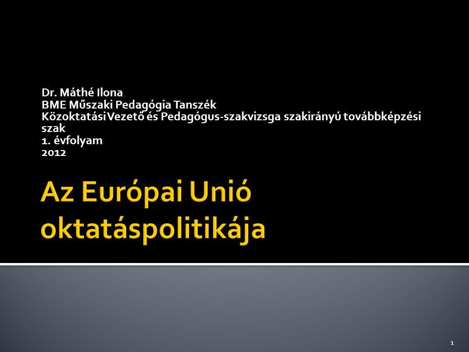 """ EU oktatáspolitikai elvek  EU oktatási és képzési közösségi programok  EU fogalmak/rövidítések  A bolognai folyamat  """"The Perfect European 2"""