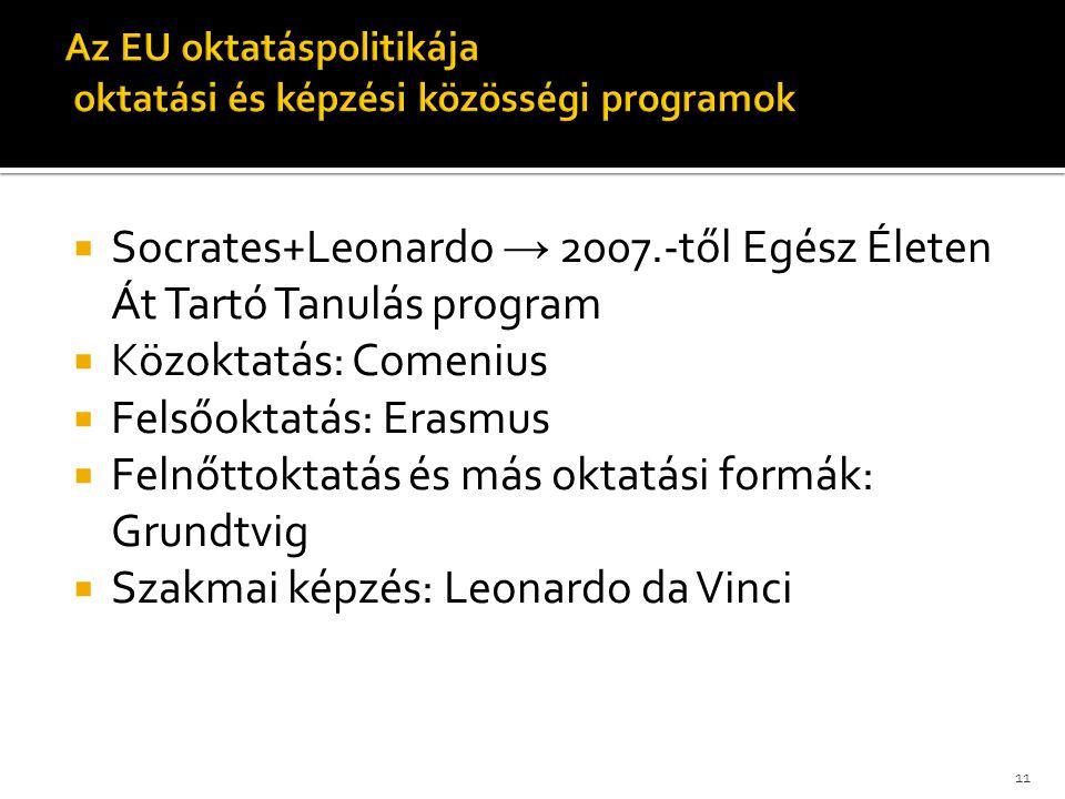  Socrates+Leonardo → 2007.-től Egész Életen Át Tartó Tanulás program  Közoktatás: Comenius  Felsőoktatás: Erasmus  Felnőttoktatás és más oktatási formák: Grundtvig  Szakmai képzés: Leonardo da Vinci 11