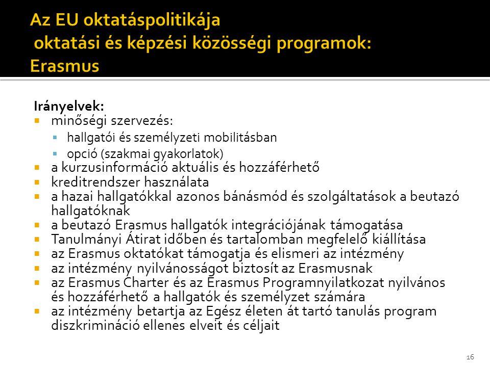 Irányelvek:  minőségi szervezés:  hallgatói és személyzeti mobilitásban  opció (szakmai gyakorlatok)  a kurzusinformáció aktuális és hozzáférhető  kreditrendszer használata  a hazai hallgatókkal azonos bánásmód és szolgáltatások a beutazó hallgatóknak  a beutazó Erasmus hallgatók integrációjának támogatása  Tanulmányi Átirat időben és tartalomban megfelelő kiállítása  az Erasmus oktatókat támogatja és elismeri az intézmény  az intézmény nyilvánosságot biztosít az Erasmusnak  az Erasmus Charter és az Erasmus Programnyilatkozat nyilvános és hozzáférhető a hallgatók és személyzet számára  az intézmény betartja az Egész életen át tartó tanulás program diszkrimináció ellenes elveit és céljait 16