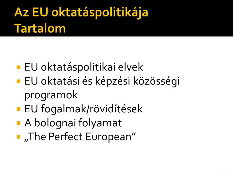 """ EU oktatáspolitikai elvek  EU oktatási és képzési közösségi programok  EU fogalmak/rövidítések  A bolognai folyamat  """"The Perfect European"""" 2"""