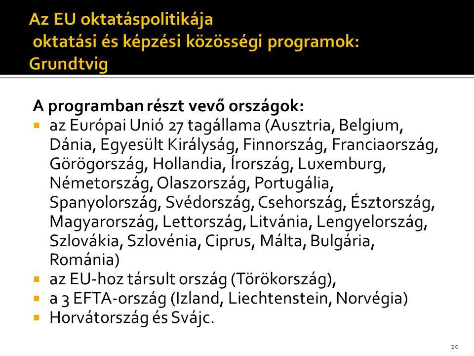 A programban részt vevő országok:  az Európai Unió 27 tagállama (Ausztria, Belgium, Dánia, Egyesült Királyság, Finnország, Franciaország, Görögország