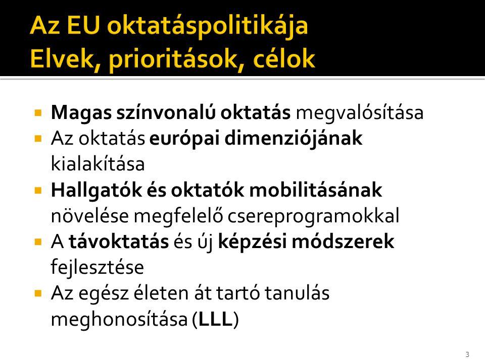 Általános célkitűzései:  az ismeretek, készségek és képesítések megszerzése és felhasználása céljából tartott képzéseken és továbbképzéseken részt vevő személyek támogatása a személyes fejlődés, a munkavállalói esélyek és az európai munkaerőpiacon való érvényesülés megkönnyítése érdekében;  a szakoktatási és szakképzési rendszerek, intézmények és gyakorlatok minőségi javítása és az e téren megvalósuló innováció támogatása;  a szakoktatás, szakképzés és mobilitás vonzóbbá tétele a munkáltatók és magánszemélyek számára, valamint a szakképzésben részt vevő munkavállalók mobilitásának elősegítése.