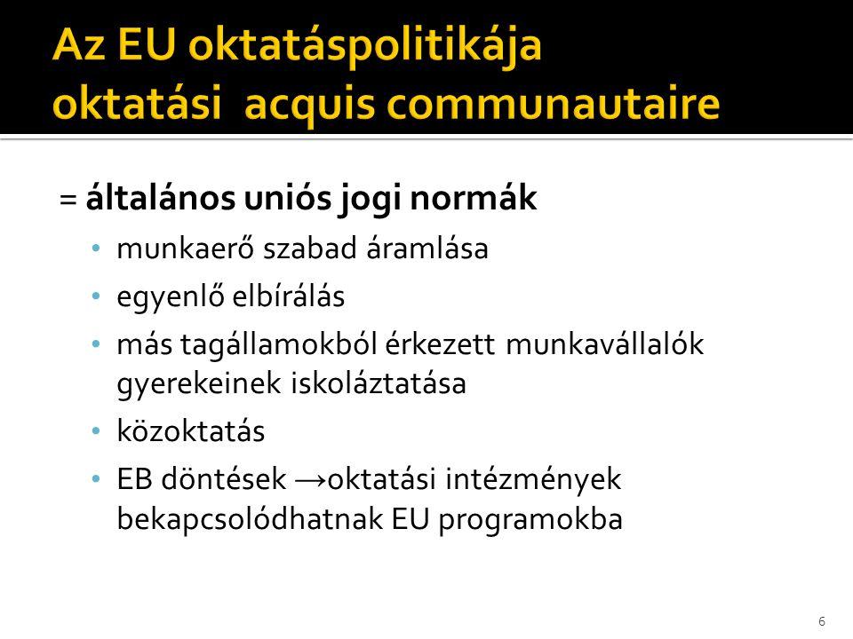 = általános uniós jogi normák • munkaerő szabad áramlása • egyenlő elbírálás • más tagállamokból érkezett munkavállalók gyerekeinek iskoláztatása • kö