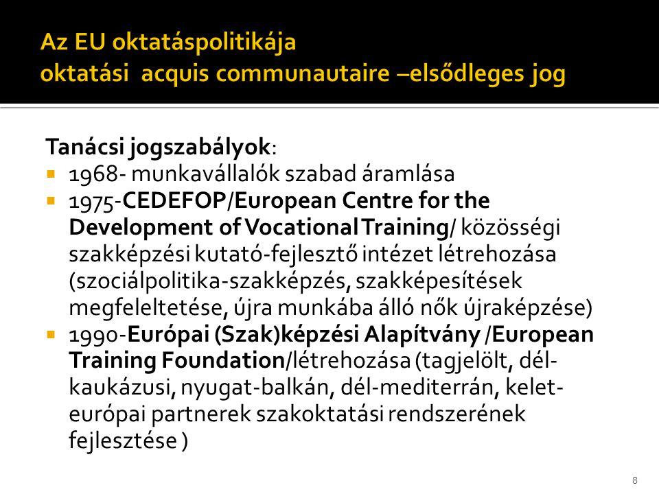 Tanácsi jogszabályok:  1968- munkavállalók szabad áramlása  1975-CEDEFOP/European Centre for the Development of Vocational Training/ közösségi szakk