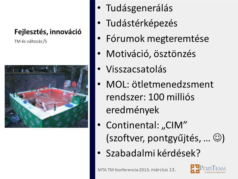 MTA TM Konferencia 2013. március 13. Fejlesztés, innováció • Tudásgenerálás • Tudástérképezés • Fórumok megteremtése • Motiváció, ösztönzés • Visszacs