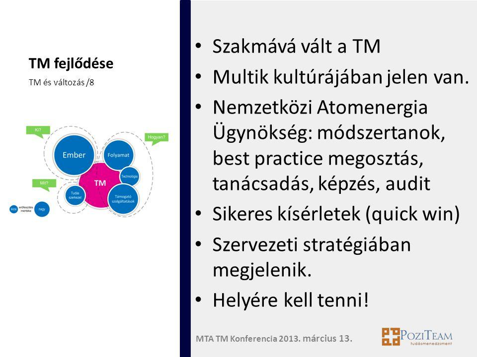 MTA TM Konferencia 2013. március 13. TM fejlődése • Szakmává vált a TM • Multik kultúrájában jelen van. • Nemzetközi Atomenergia Ügynökség: módszertan