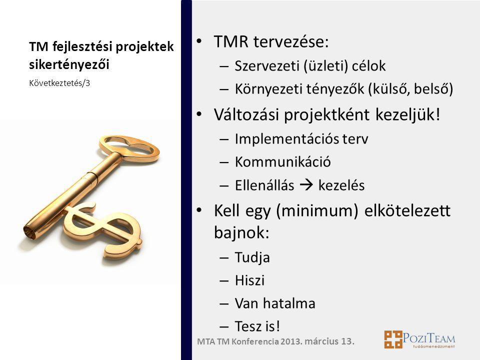 MTA TM Konferencia 2013. március 13. TM fejlesztési projektek sikertényezői • TMR tervezése: – Szervezeti (üzleti) célok – Környezeti tényezők (külső,