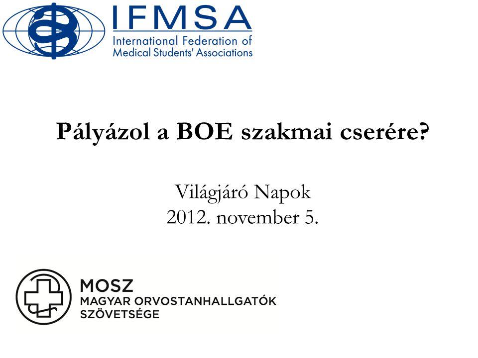 Pályázol a BOE szakmai cserére Világjáró Napok 2012. november 5.