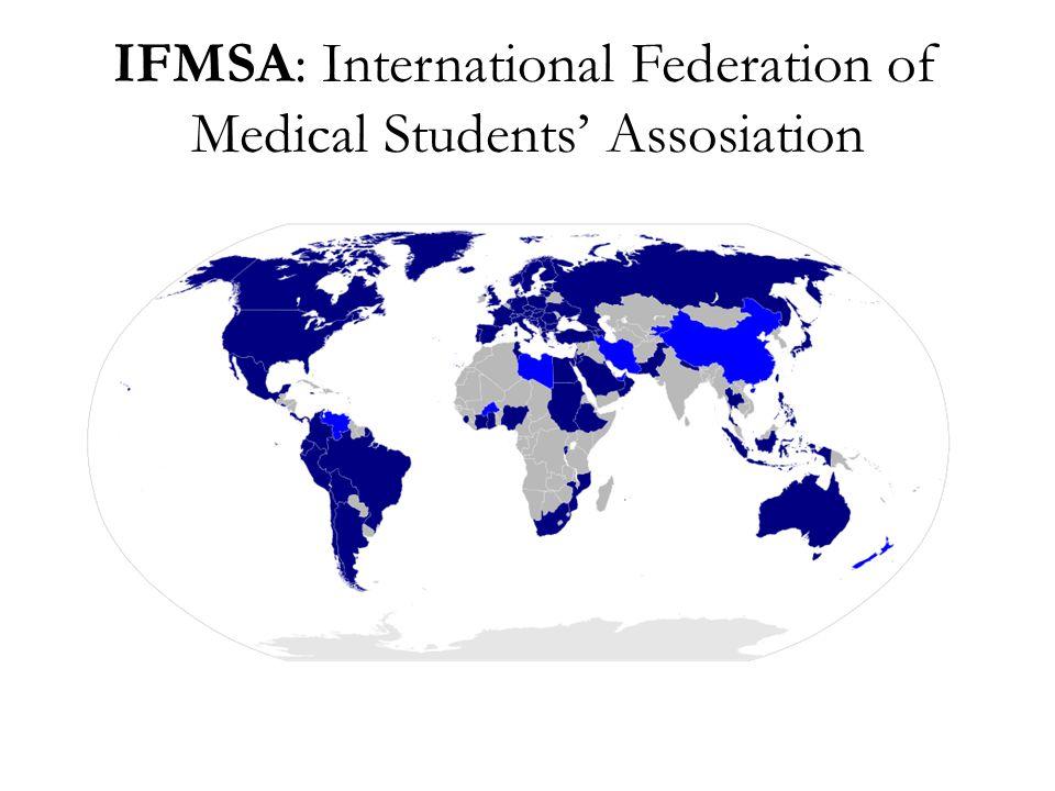 """Célja • világszinten összefogni az orvostanhallgatókat • felhívni a figyelmet számos egészségügyi, oktatási és társadalmi problémára különböző rendezvényeken, prevenciós munkákon, előadásokon, kezdeményezéseken keresztül • """"Think Globally, Act Locally! Ma több mint 100 ország tagja."""