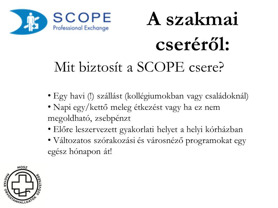 A szakmai cseréről: Mit biztosít a SCOPE csere? • Egy havi (!) szállást (kollégiumokban vagy családoknál) • Napi egy/kettő meleg étkezést vagy ha ez n