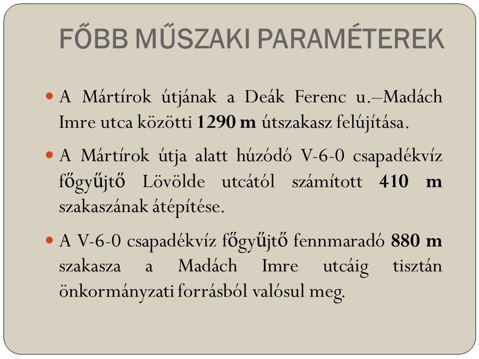 FŐBB MŰSZAKI PARAMÉTEREK  A Mártírok útjának a Deák Ferenc u.–Madách Imre utca közötti 1290 m útszakasz felújítása.  A Mártírok útja alatt húzódó V-