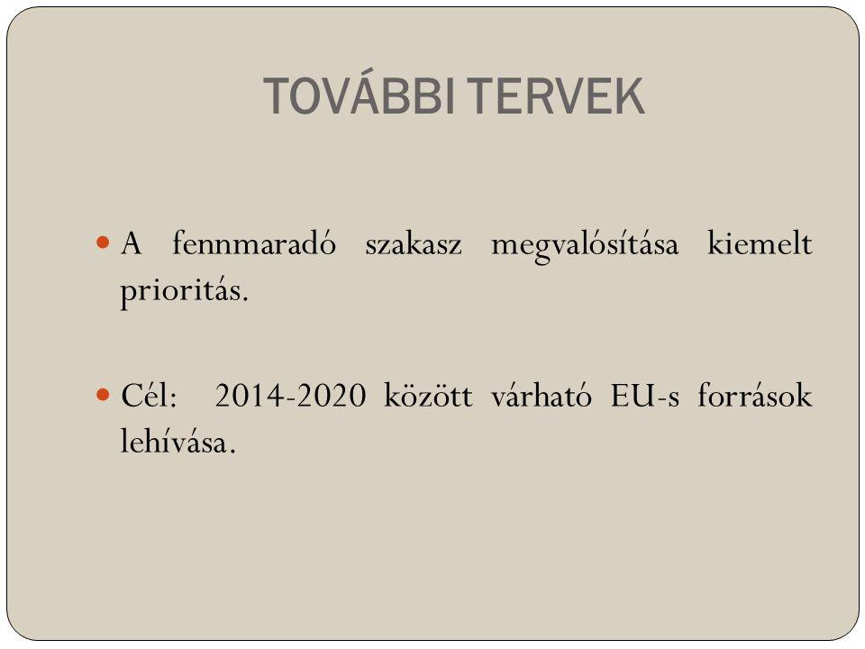 TOVÁBBI TERVEK  A fennmaradó szakasz megvalósítása kiemelt prioritás.  Cél: 2014-2020 között várható EU-s források lehívása.