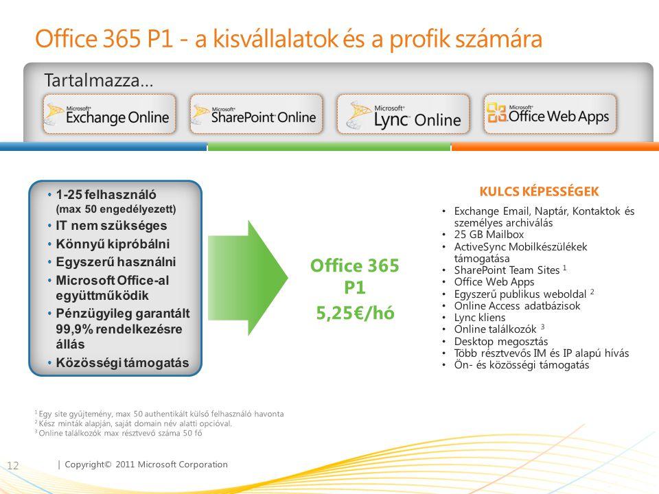 | Copyright© 2011 Microsoft Corporation Office 365 P1 - a kisvállalatok és a profik számára Tartalmazza… 12 • Exchange Email, Naptár, Kontaktok és sze