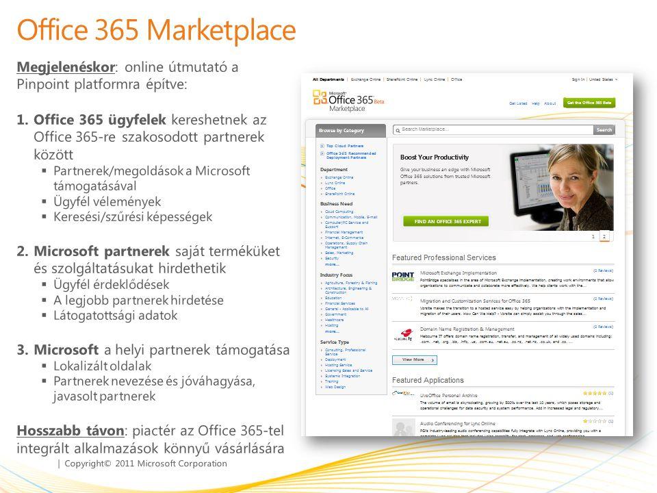 | Copyright© 2011 Microsoft Corporation Office 365 Marketplace Megjelenéskor: online útmutató a Pinpoint platformra építve: 1.Office 365 ügyfelek kere